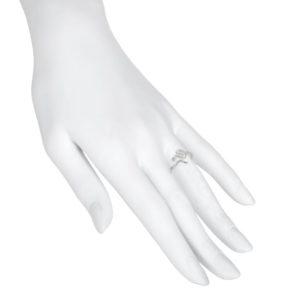 Serpiente anillo pequeño plata frente.