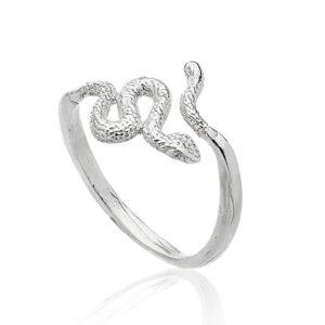 Serpiente anillo pequeño plata lado.